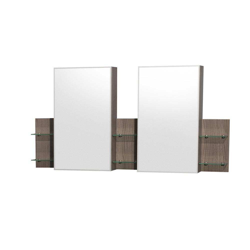 Wyndham Collection Amare 60 in. W x 30 in. H Framed Wall Mirror in Gray Oak