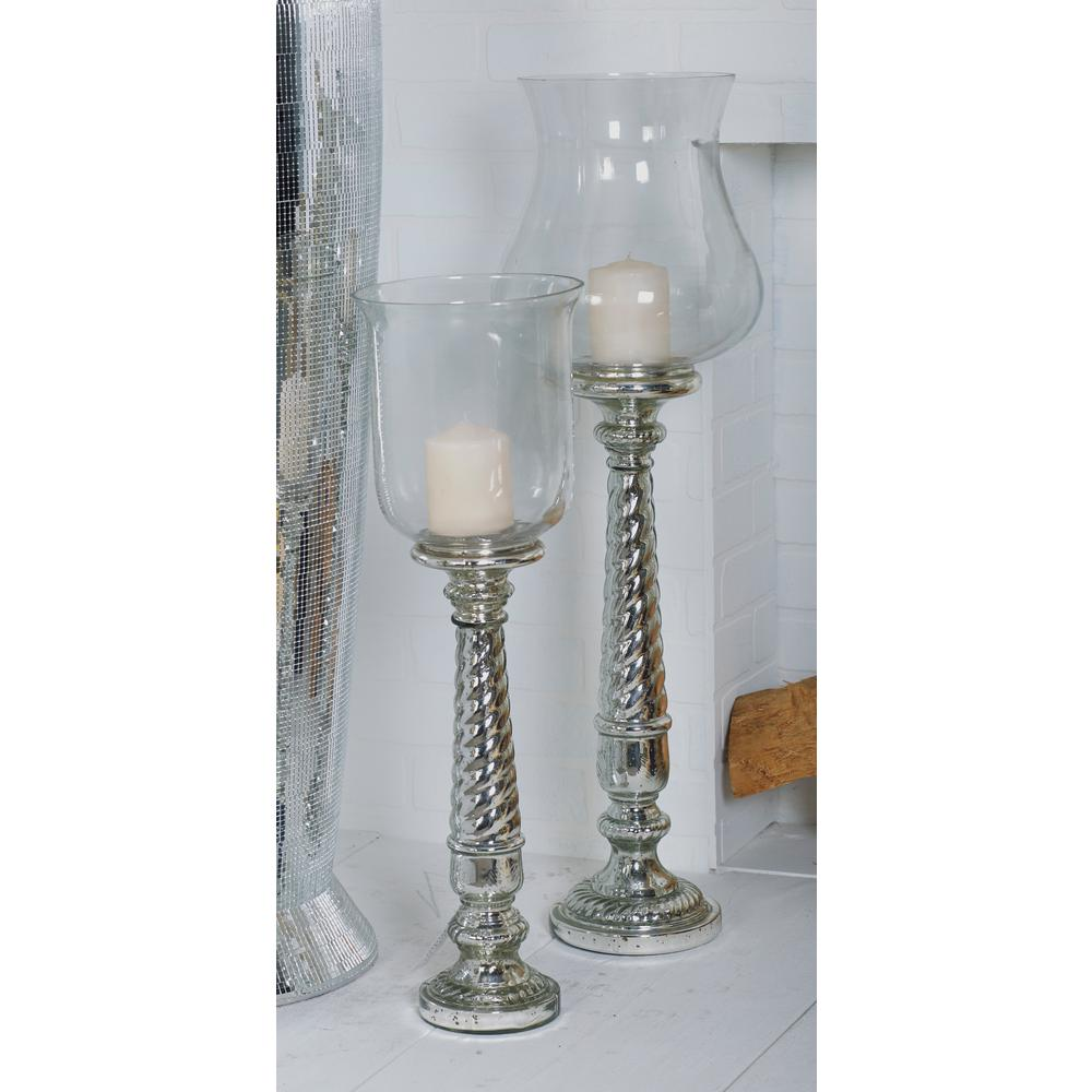 Litton lane silver finished twisted and tapered glass candle holder