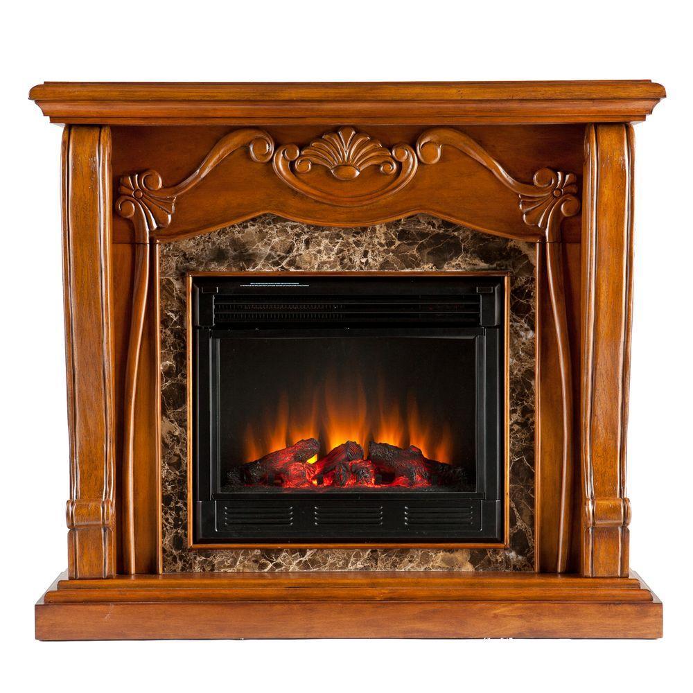 Southern Enterprises Cardona 45 in. Electric Fireplace in Walnut