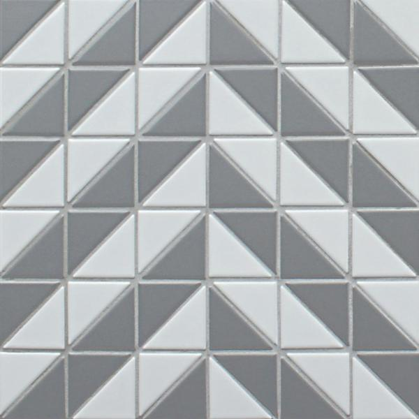 Tre Duel Chevron White and Grey 10-3/4 in. x 10-3/4 in. x 6mm Porcelain Mosaic Tile