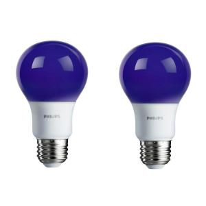 philips 60 watt equivalent a19 non dimmable purple led colored light bulb 2 pack 463208 the. Black Bedroom Furniture Sets. Home Design Ideas