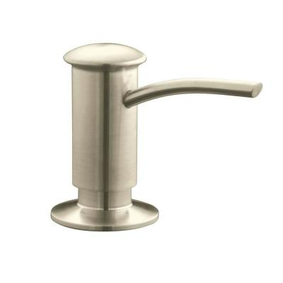 Countertop-Mount Brass and Plastic Soap and Lotion Dispenser in Vibrant Brushed Nickel