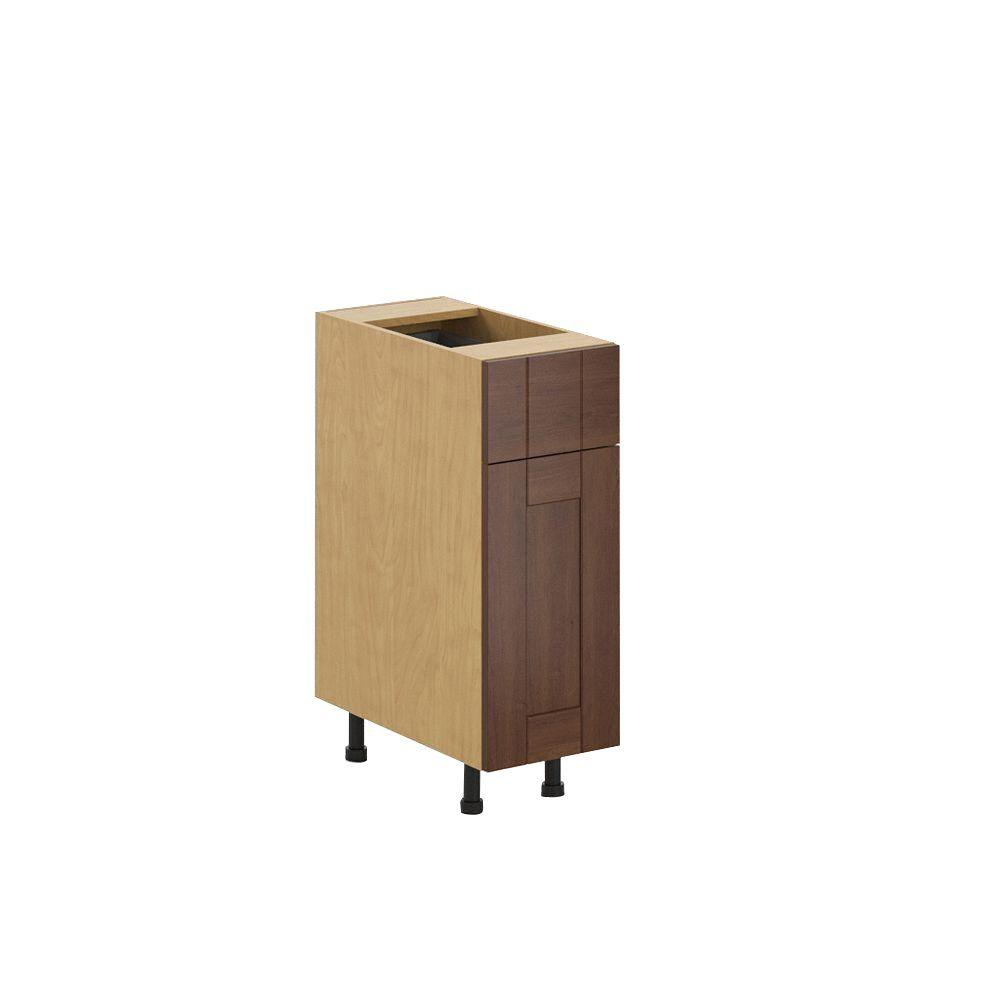 Fabritec Ready to Assemble 12x34.5x24.5 in. Lyon Base Cabinet in Maple Melamine and Door in Medium Brown