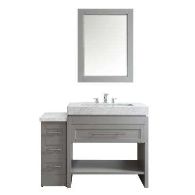 Bolzana 48 in. W x 23 in. D x 36 in. H Vanity in Grey with Marble Vanity Top in Carrara White and Mirror