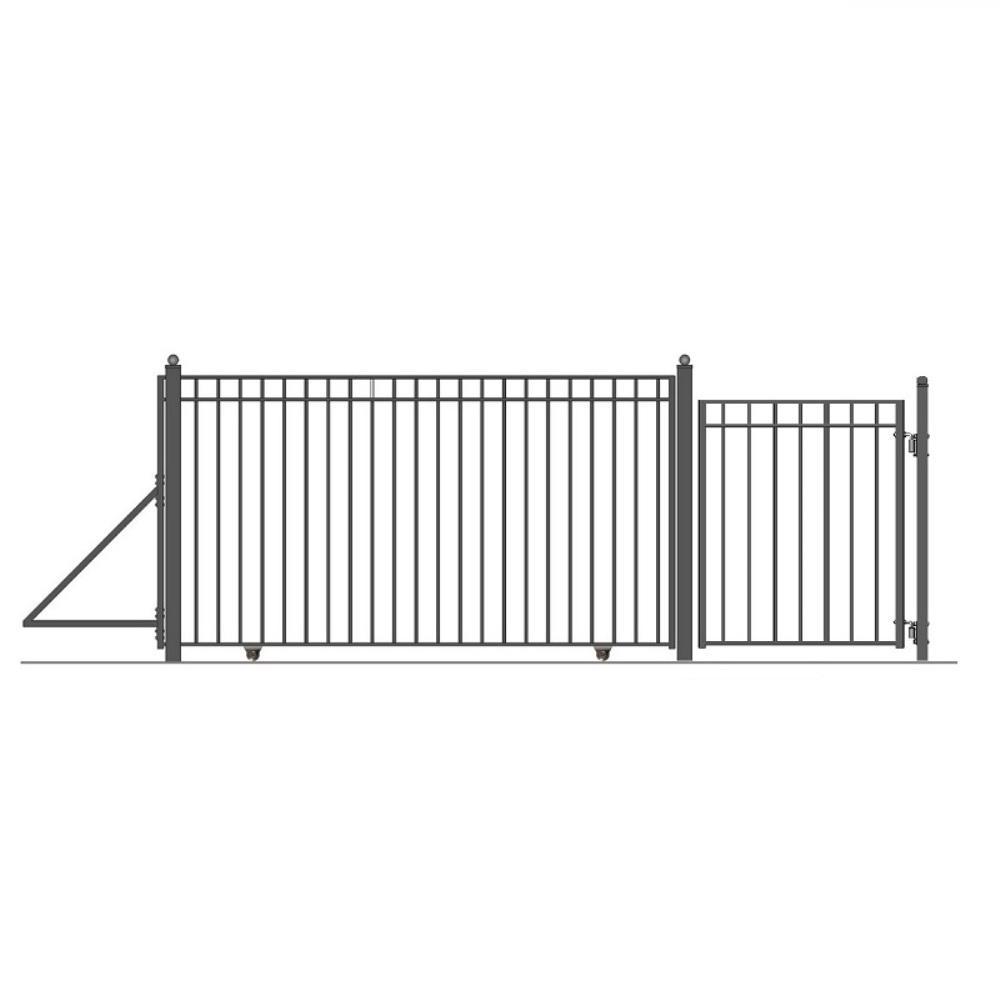 Madrid Style 14 ft. x 6 ft. Black Steel Single Slide Driveway Fence Gate