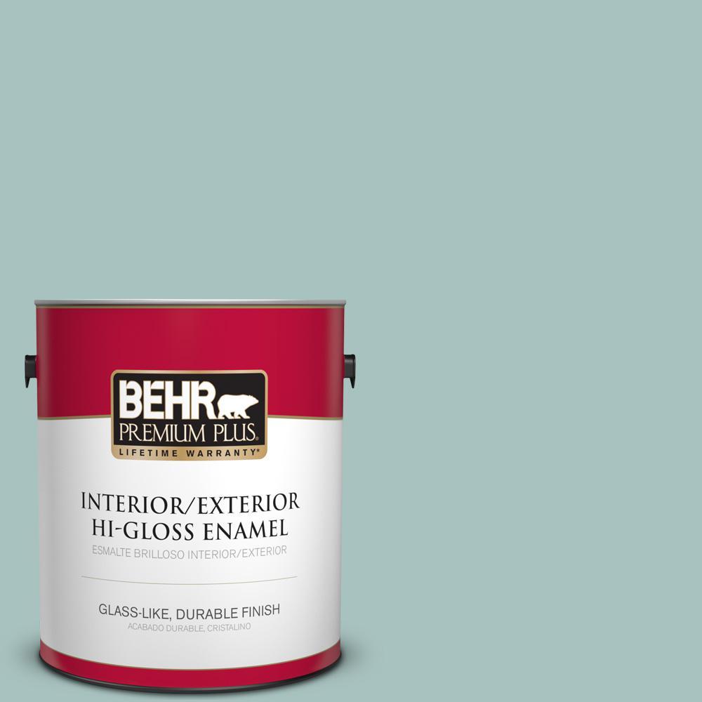 1 gal. #T17-08 Polished Aqua Hi-Gloss Enamel Interior/Exterior Paint
