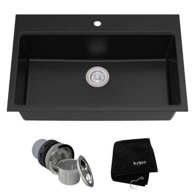 Drop-in/Undermount Granite Composite 31 in. 1-Hole Single Basin Kitchen Sink Kit in Black Onyx