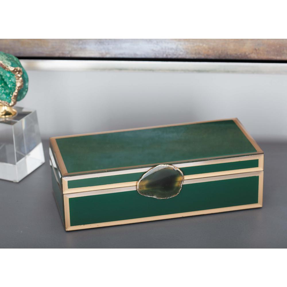 3 in. x 11 in. Modern Elegance Wood and Glass Agate Jewelry Box in Green