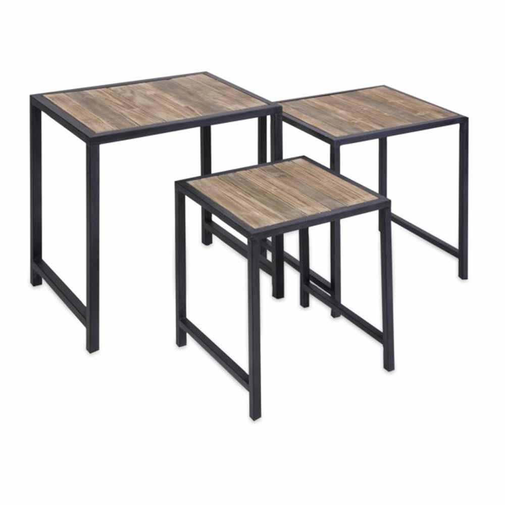 Lenor 3-Piece Black Nesting End Table