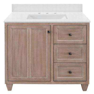 Banks 37 in. W x 22 in. D Bath Vanity in Antique Ash with Engineered Marble Vanity Top in Snowstorm with White Sink