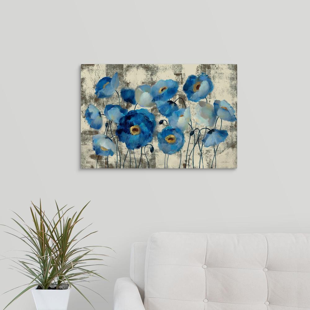 GreatBigCanvas ''Aquamarine Floral'' by Silvia Vassileva Canvas Wall Art