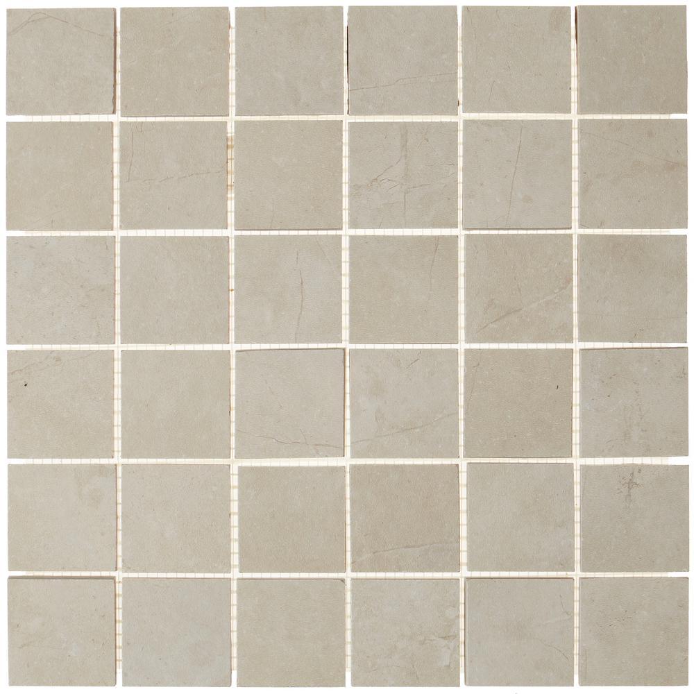 Metropolitan Beige 12 in. x 12 in. x 9mm Matte Glazed Porcelain Rectified Mesh-Mounted Mosaic Tile
