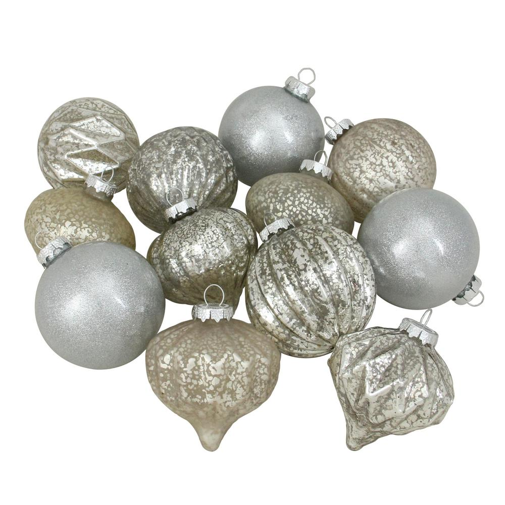 (100 mm) Silver Mercury Glass Christmas Glass Ball and Onion Drop Ornaments (12-Count)