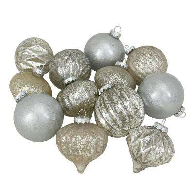 100 mm silver mercury glass christmas glass ball and onion drop - Glass Christmas Decorations