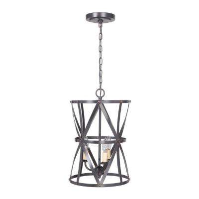 Hardwired Pendant Series 5-Lights Brushed Bronze Mini Chandelier with Cage shade