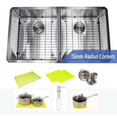 Undermount 16-Gauge Stainless Steel 37 in. x 20 in. x 10 in. 50/50 Double Bowl Kitchen Sink Combo