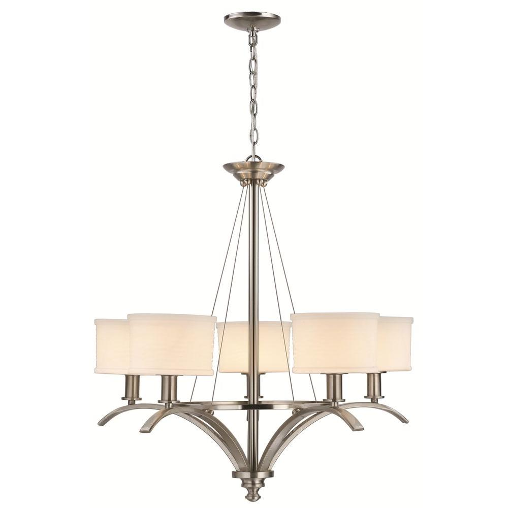 Hampton bay nove 5 light brushed nickel chandelier with white glass mayport collection 5 light hanging brushed nickel chandelier arubaitofo Image collections