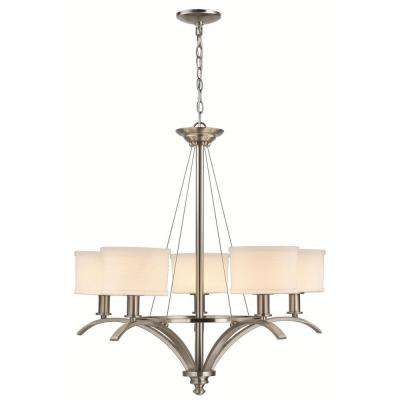 Mayport Collection 5-Light Hanging Brushed Nickel Chandelier