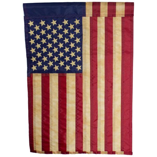 Northlight 12 5 In X 18 In Embroidered Tea Stained American Garden Flag 34219496 The Home Depot