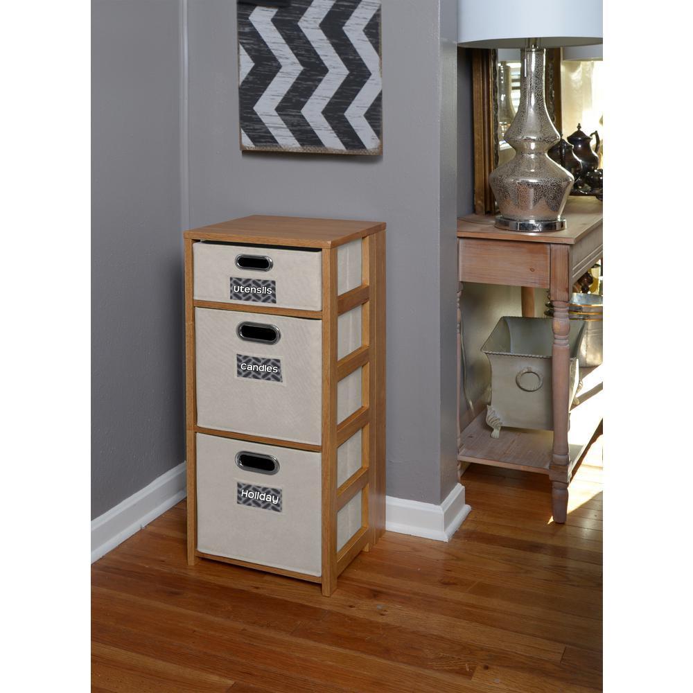 Flip Flop Medium Oak and Natural 3-Shelf Folding Bookcase and Storage Tote Set