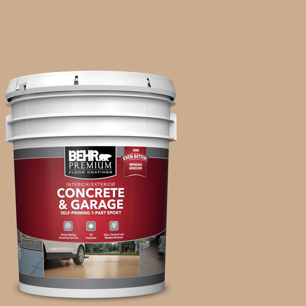 BEHR PREMIUM 5 gal. #PFC-23 Tan Self-Priming 1-Part Epoxy Satin Interior/Exterior Concrete and Garage Floor Paint