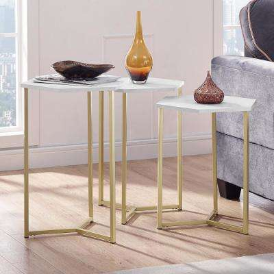 Modern Transitional Graphite/Gold Hex Wood and Metal Nesting Tables (Set of 3)