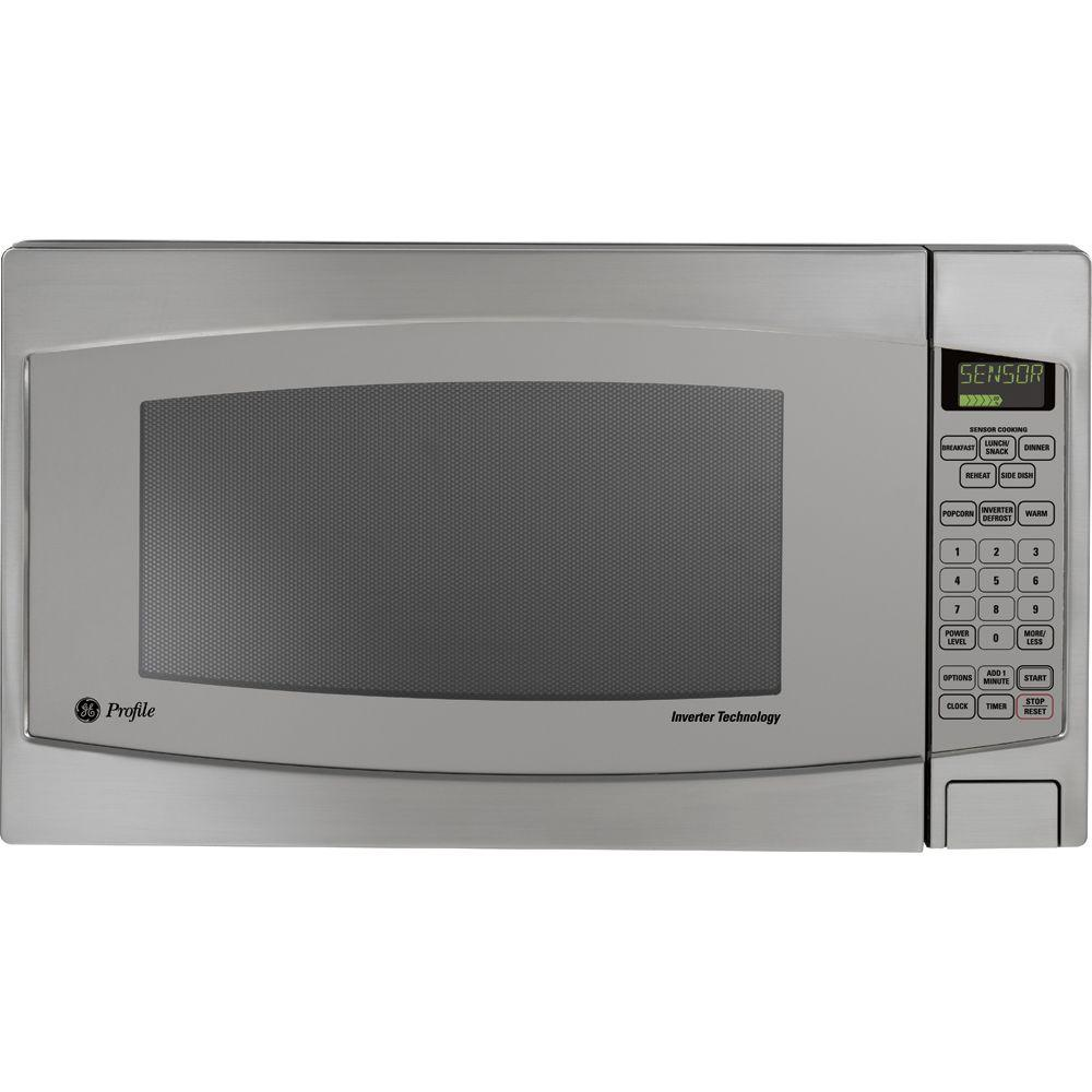 Ge Profile 2 Cu Ft Countertop Microwave In Stainless Steel With Defrost And Sensor