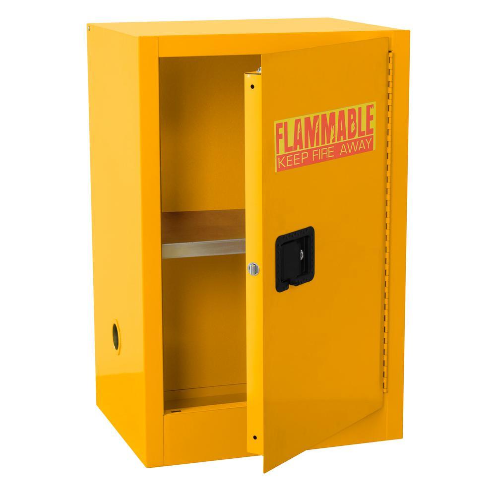 35 in. H x 23 in. W x 18 in. D Steel Freestanding Flammable Liquid Safety Single-Door Storage Cabinet in Yellow