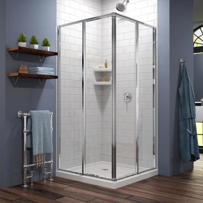 Cornerview 40 in. x 72 in. Semi-Frameless Sliding Shower Door in Chrome with 42 in. x 42 in. Base in White