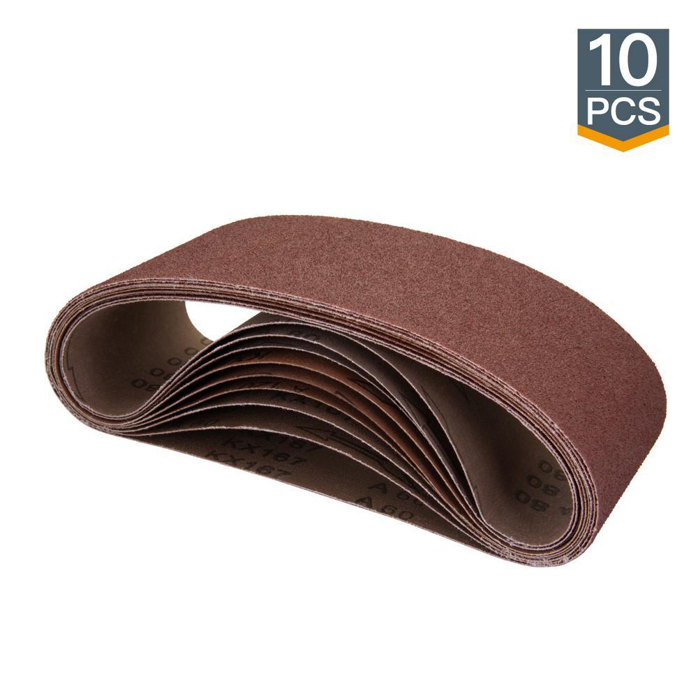 4 in. x 24 in. 60-Grit Aluminum Oxide Sanding Belt (10-Pack)