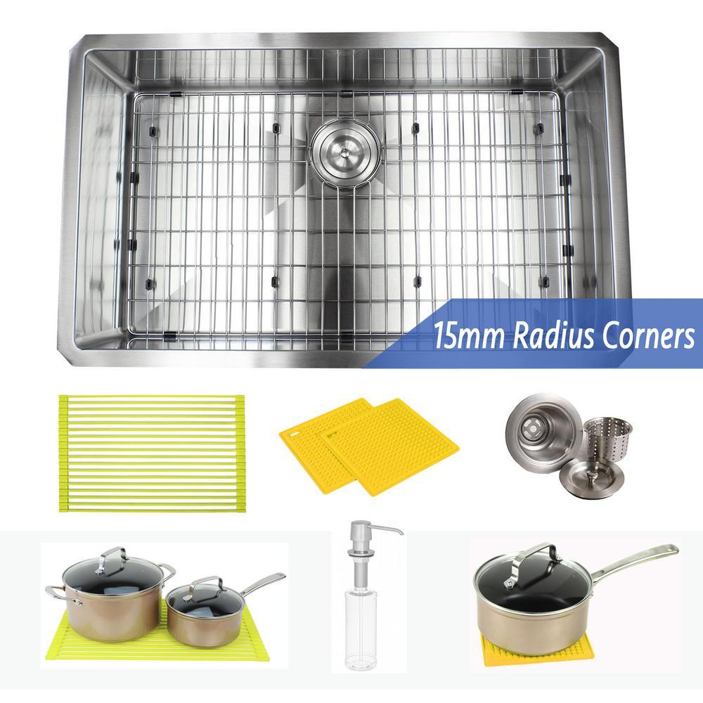 Undermount 16-Gauge Stainless Steel 32 in. x 19 in. x 10 in. Single Bowl Kitchen Sink Combo