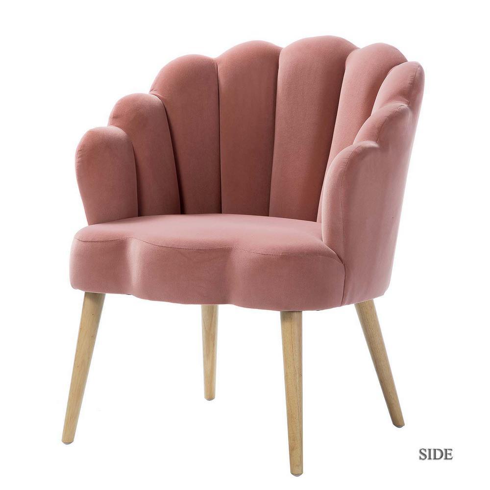 Flora Pink Scalloped Velvet Arm Chair