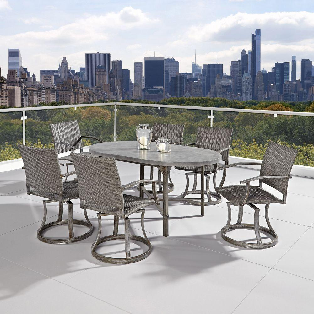 Home Styles Urban 65 in. W Outdoor 7-Piece Dining Set in Aged Metal