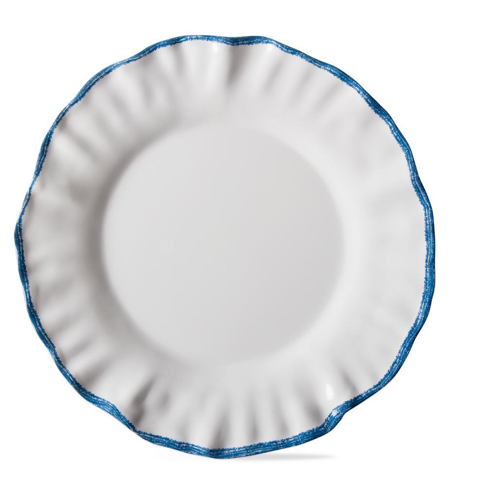 Ruffle Rim White Melamine Dinner Plate (Set of 4)