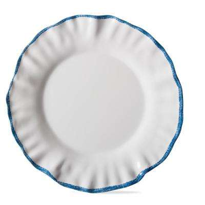 Ruffle Rim White Melamine Dinner Plate (Set of 4)