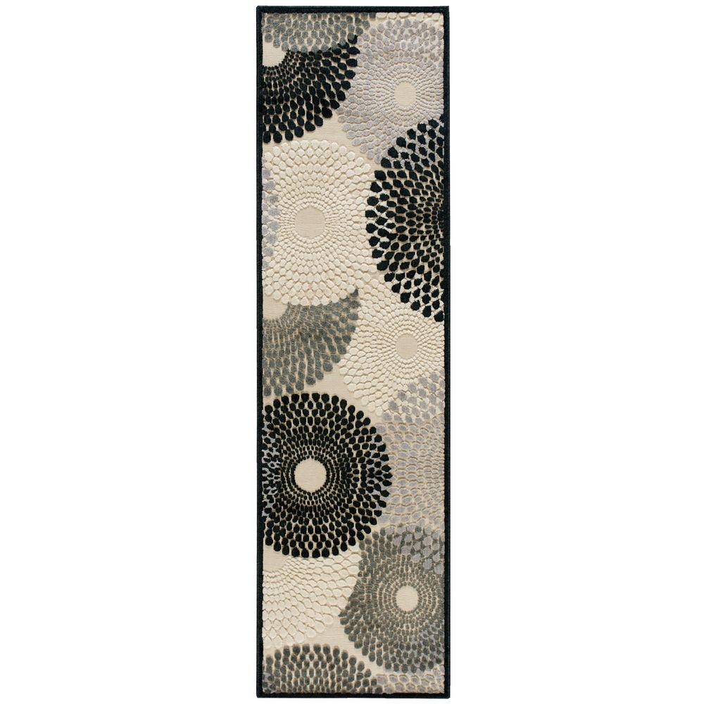 Nourison Graphic Illusions Parchment 2 ft. 3 in. x 8 ft. Rug Runner