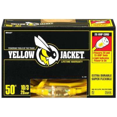 50 ft. 10/3 SJTW Lighted T-Blade Heavy-Duty Extension Cord, Yellow