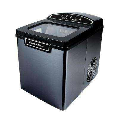 27 lb. Free Standing Ice Maker in Black Stainless Steel