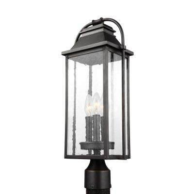 Wellsworth 3-Light Outdoor Antique Bronze Post Light