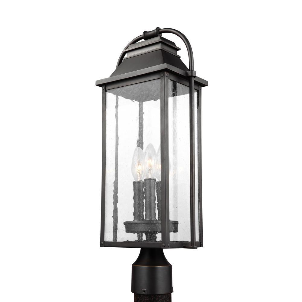 Wellsworth 3-Light Outdoor Antique Bronze Post Light
