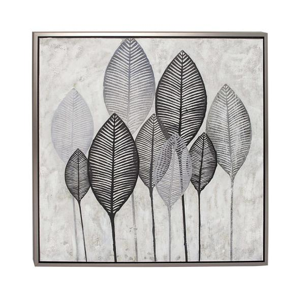 Black And White Veined Leaves Hand Painted Framed Canvas Wall Art