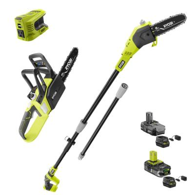RYOBI ONE+ 18-Volt Lithium-Ion 8-inch Cordless Pole Saw, 10-inch Chainsaw, and Power Inverter - 2 Batteries and 2 Chargers