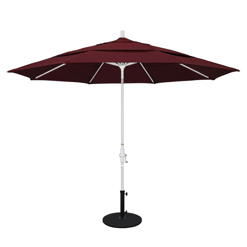 11 ft. Aluminum Collar Tilt Double Vented Patio Umbrella in Burgundy