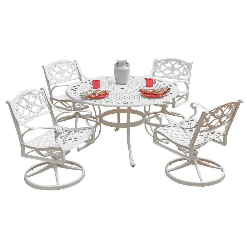 Biscayne 48 in. White 5-Piece Round Swivel Patio Dining Set with