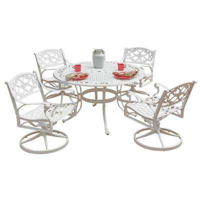 Biscayne 48 in. White 5-Piece Round Swivel Patio Dining Set with Green Apple Cushions