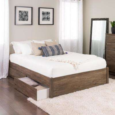 Select Drifted Gray Queen 4-Post Platform Bed with 2-Drawers