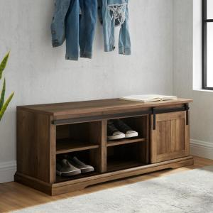 Deals on Welwick Designs 48 in. Barnwood Sliding Grooved Door Entry Bench