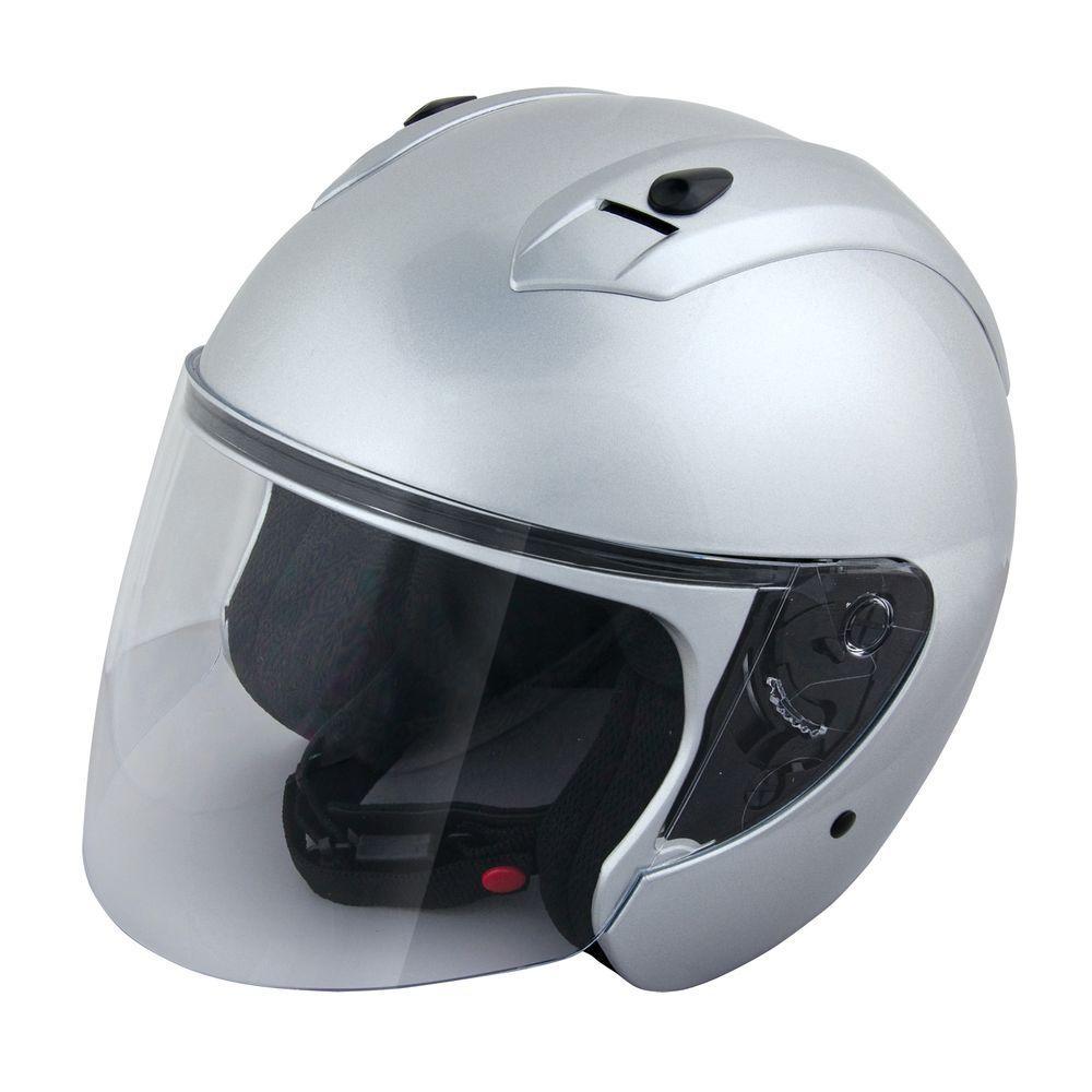 Raider Small Silver Open Face Flip Shield with Visor