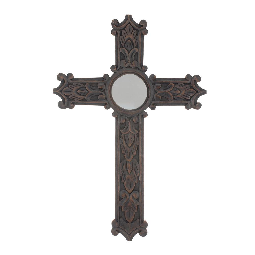 Stonebriar Collection 24 In X 16 Dark Brown Wood Wall Cross With Mirror