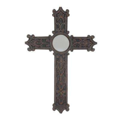 24 in. x 16 in. Dark Brown Wood Wall Cross with Mirror